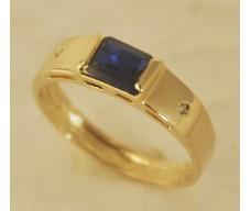 Anel de Formatura em Ouro 18K Cravejada com Brilhantes e Pedra Natural Azul e46106d3f2