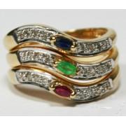Anel em Ouro 18K com 3 pedras brilhante de Esmeralda, Safira e Rubi