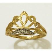 Anel em Ouro 18K formato Coroa cravejadas com 4 pedras brilhantes