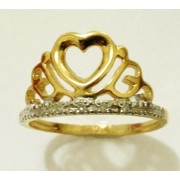 Anel em Ouro 18K formato Coroa Coração cravejadas com 5 pedras brilhantes