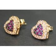 Brinco em Ouro 18k Formato de Coração cravejada com Diamante e Rubi