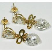 Brinco em Ouro 18K  Laço Vazado e Pedra de Briole com formato de Coração