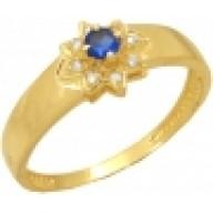 Anel de Formatura em Ouro 18K  com Brilhantes e Pedra Natural Azul.